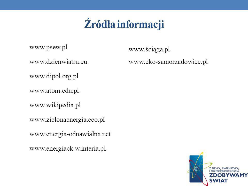 Źródła informacji www.psew.pl www.dzienwiatru.eu www.dipol.org.pl www.atom.edu.pl www.wikipedia.pl www.zielonaenergia.eco.pl www.energia-odnawialna.ne