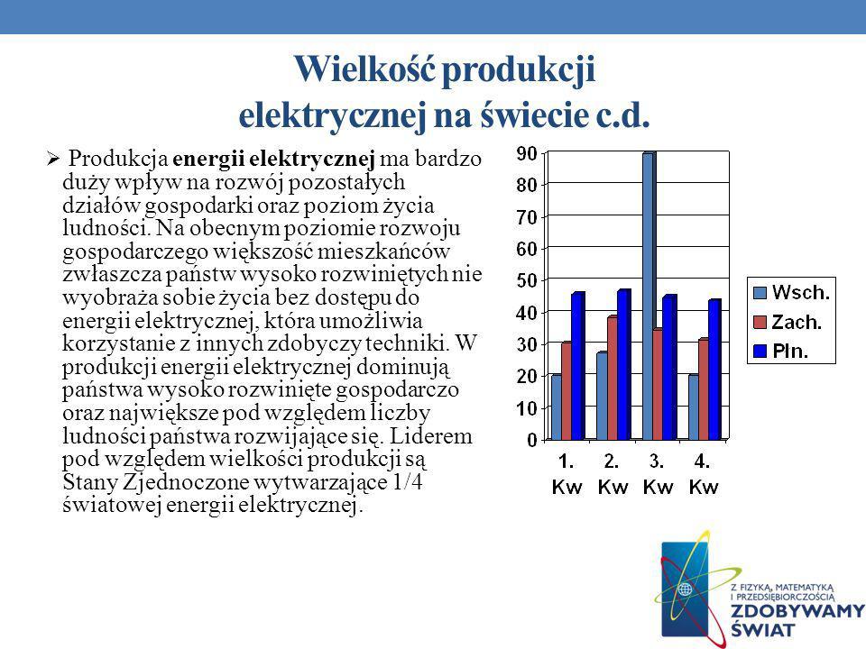 Produkcja energii elektrycznej ma bardzo duży wpływ na rozwój pozostałych działów gospodarki oraz poziom życia ludności. Na obecnym poziomie rozwoju g