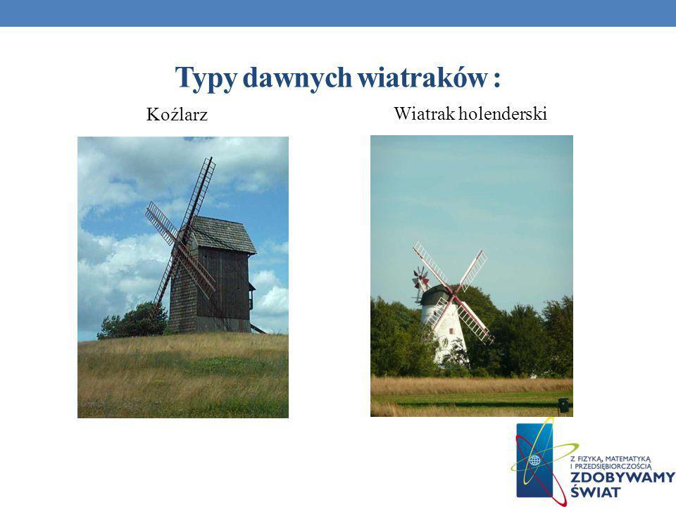 Typy dawnych wiatraków : Koźlarz Wiatrak holenderski