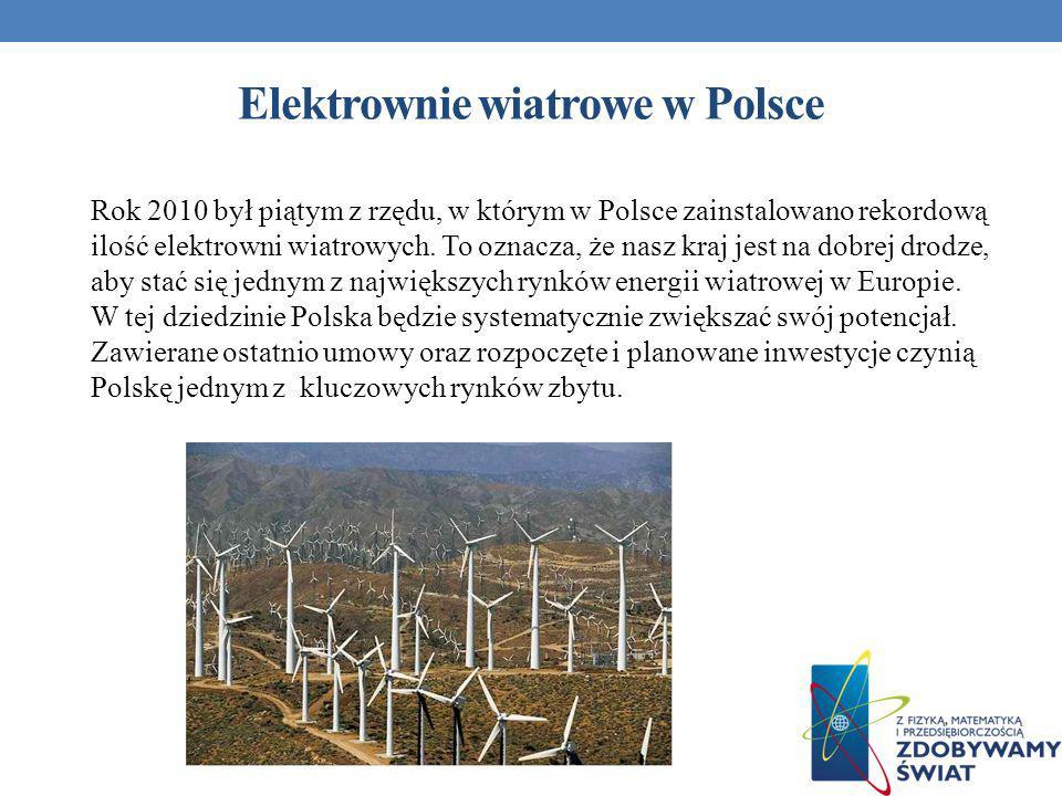 Elektrownie wiatrowe w Polsce Rok 2010 był piątym z rzędu, w którym w Polsce zainstalowano rekordową ilość elektrowni wiatrowych. To oznacza, że nasz