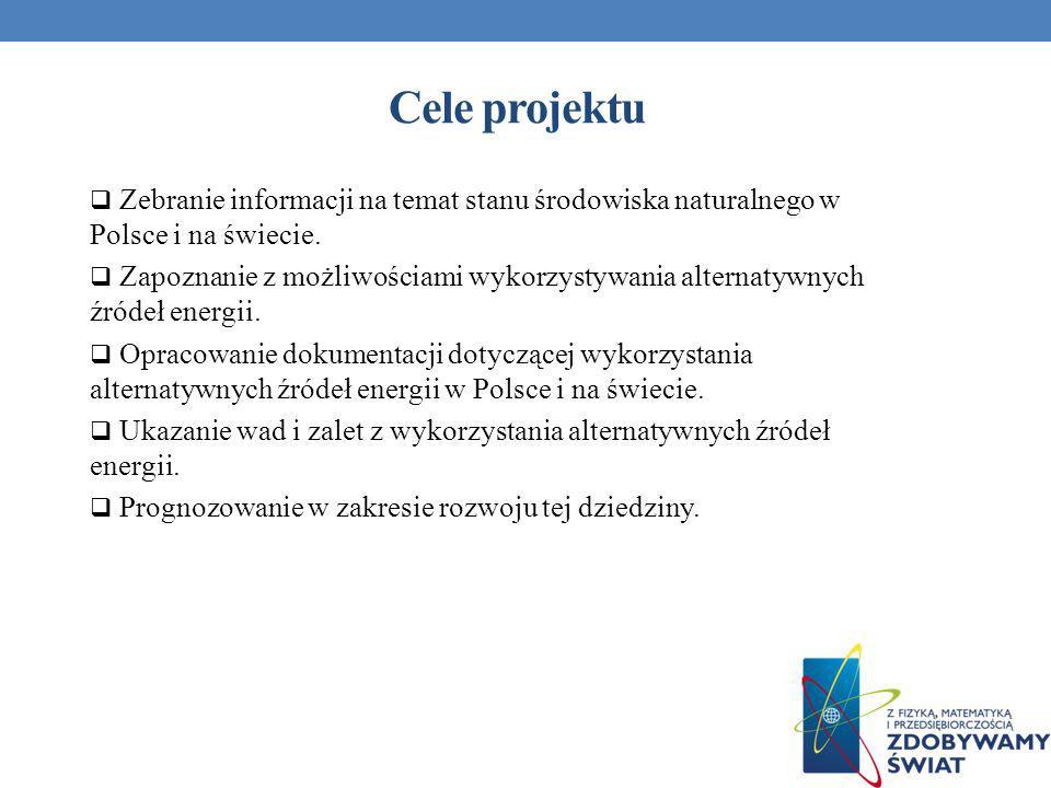 Cele projektu Zebranie informacji na temat stanu środowiska naturalnego w Polsce i na świecie. Zapoznanie z możliwościami wykorzystywania alternatywny