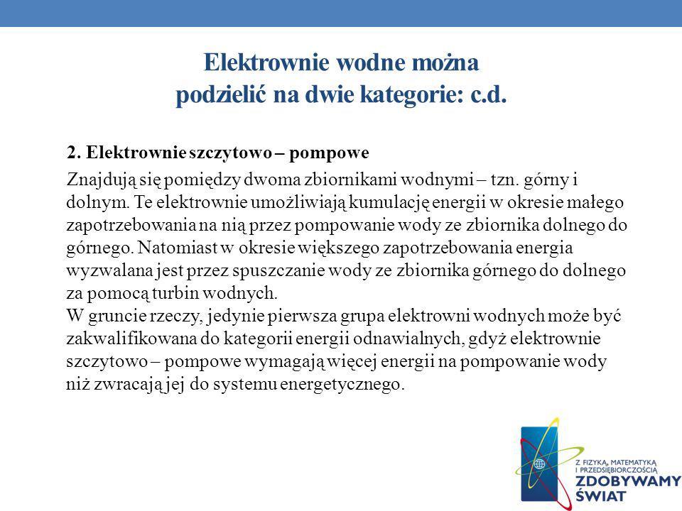 Elektrownie wodne można podzielić na dwie kategorie: c.d. 2. Elektrownie szczytowo – pompowe Znajdują się pomiędzy dwoma zbiornikami wodnymi – tzn. gó