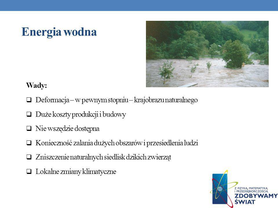 Wady: Deformacja – w pewnym stopniu – krajobrazu naturalnego Duże koszty produkcji i budowy Nie wszędzie dostępna Konieczność zalania dużych obszarów