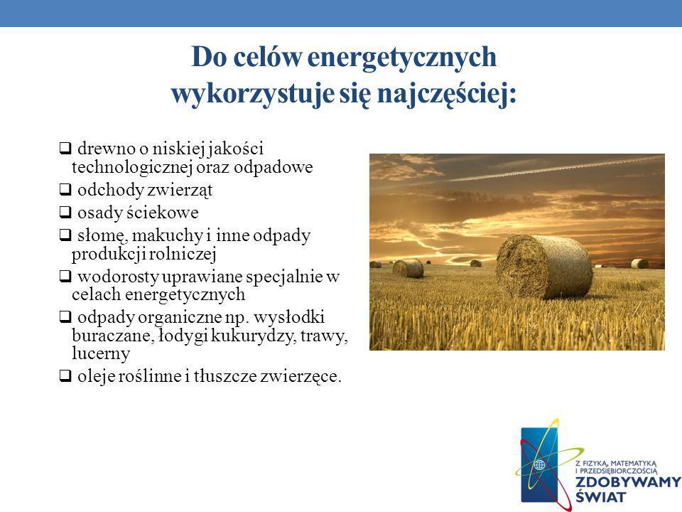 Do celów energetycznych wykorzystuje się najczęściej: drewno o niskiej jakości technologicznej oraz odpadowe odchody zwierząt osady ściekowe słomę, ma