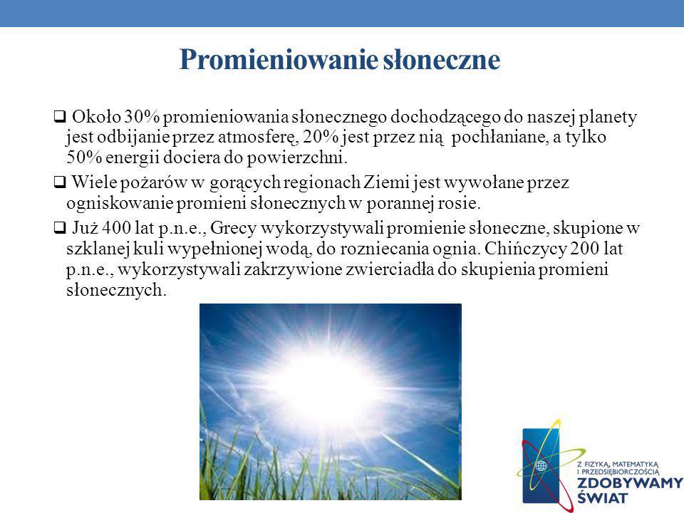 Promieniowanie słoneczne Około 30% promieniowania słonecznego dochodzącego do naszej planety jest odbijanie przez atmosferę, 20% jest przez nią pochła