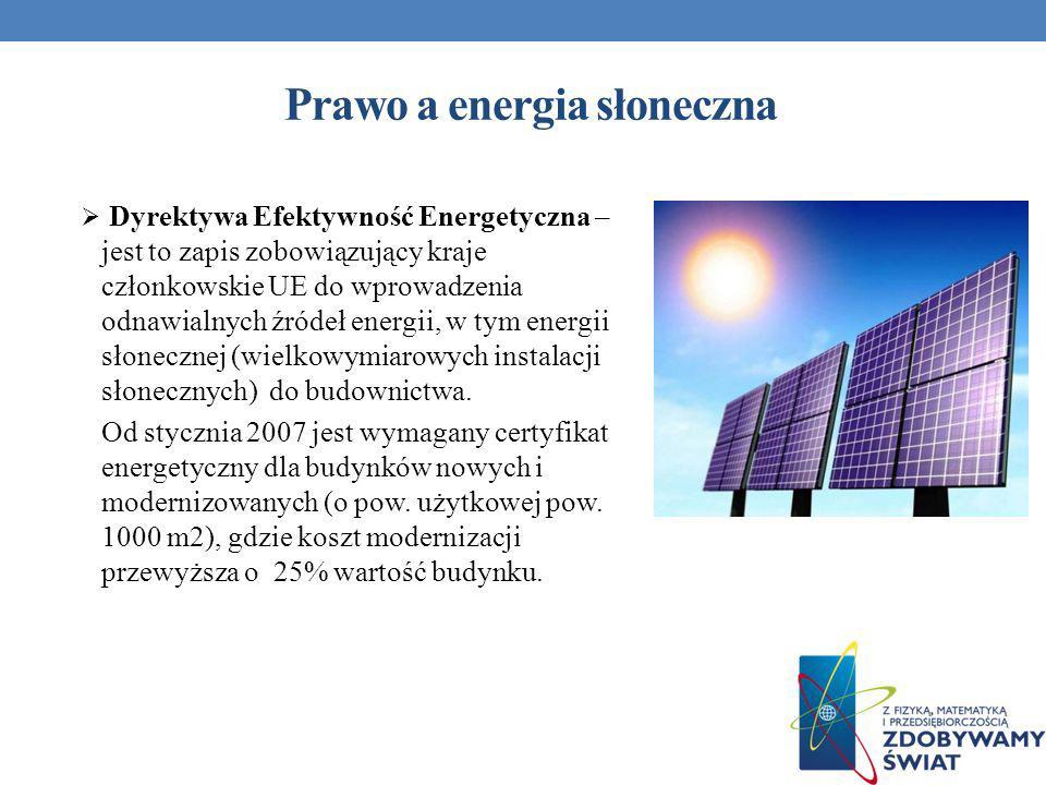 Prawo a energia słoneczna Dyrektywa Efektywność Energetyczna – jest to zapis zobowiązujący kraje członkowskie UE do wprowadzenia odnawialnych źródeł e