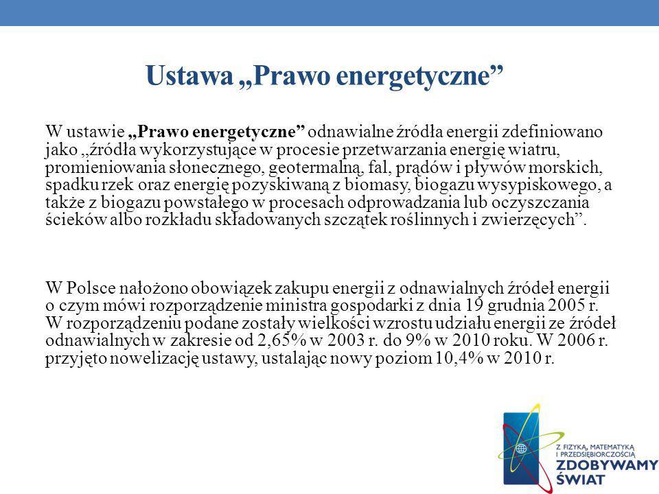 Ustawa Prawo energetyczne W ustawie Prawo energetyczne odnawialne źródła energii zdefiniowano jako źródła wykorzystujące w procesie przetwarzania ener