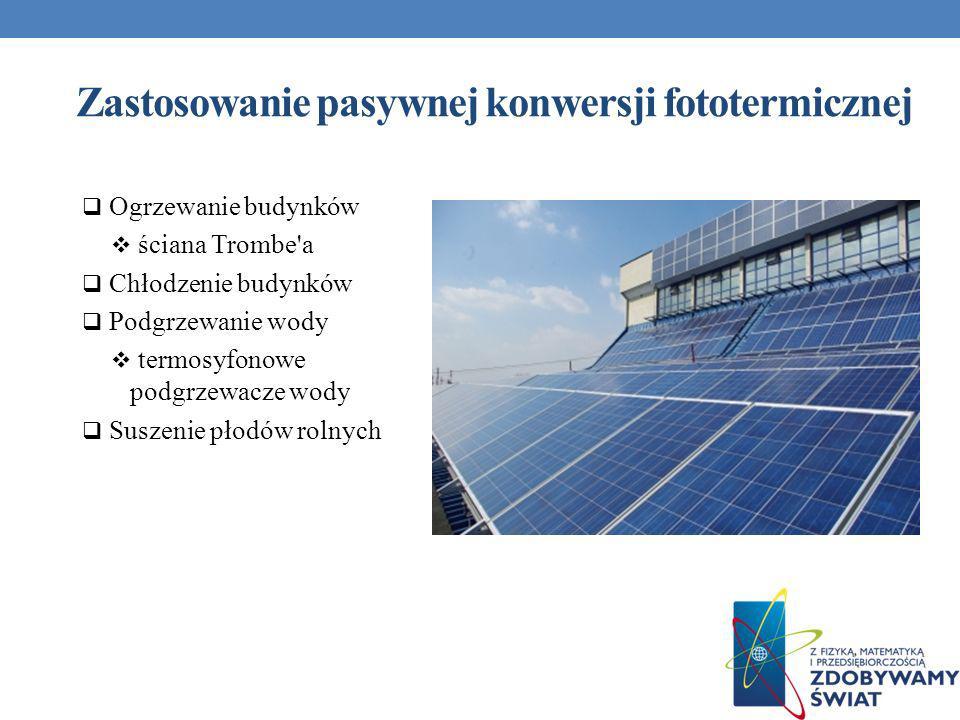 Zastosowanie pasywnej konwersji fototermicznej Ogrzewanie budynków ściana Trombe'a Chłodzenie budynków Podgrzewanie wody termosyfonowe podgrzewacze wo