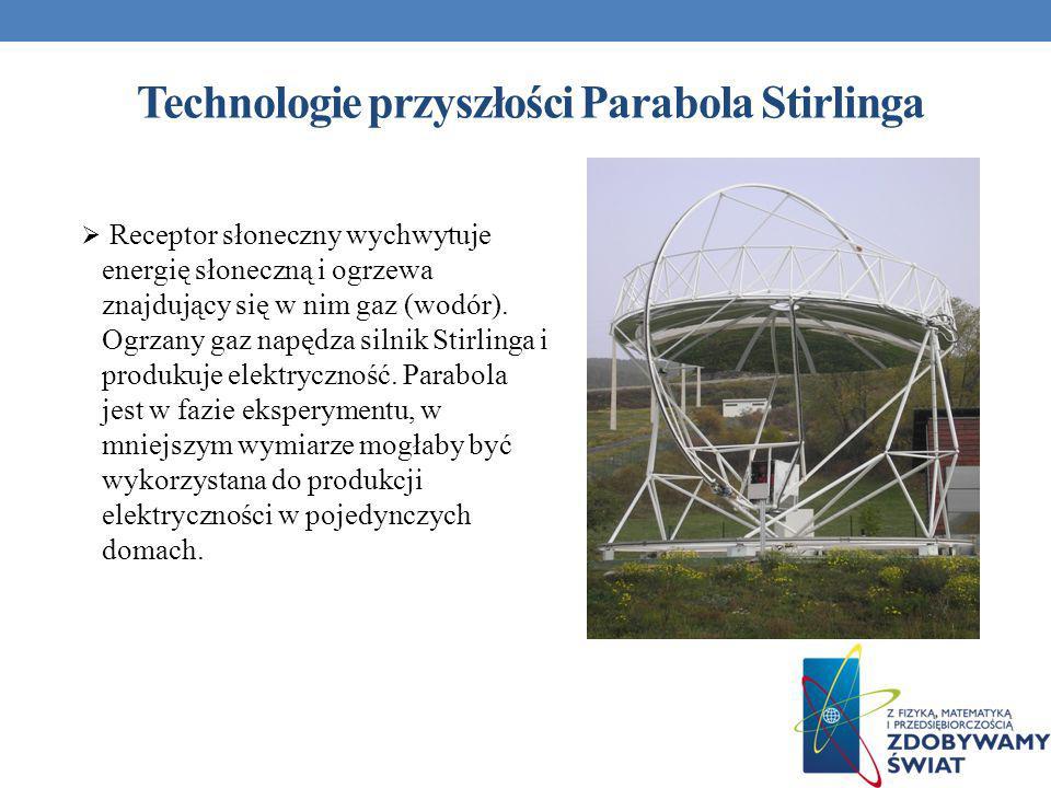 Technologie przyszłości Parabola Stirlinga Receptor słoneczny wychwytuje energię słoneczną i ogrzewa znajdujący się w nim gaz (wodór). Ogrzany gaz nap