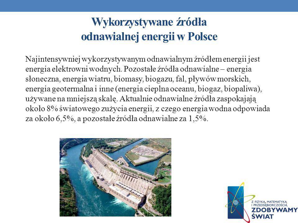 Wykorzystywane źródła odnawialnej energii w Polsce Najintensywniej wykorzystywanym odnawialnym źródłem energii jest energia elektrowni wodnych. Pozost