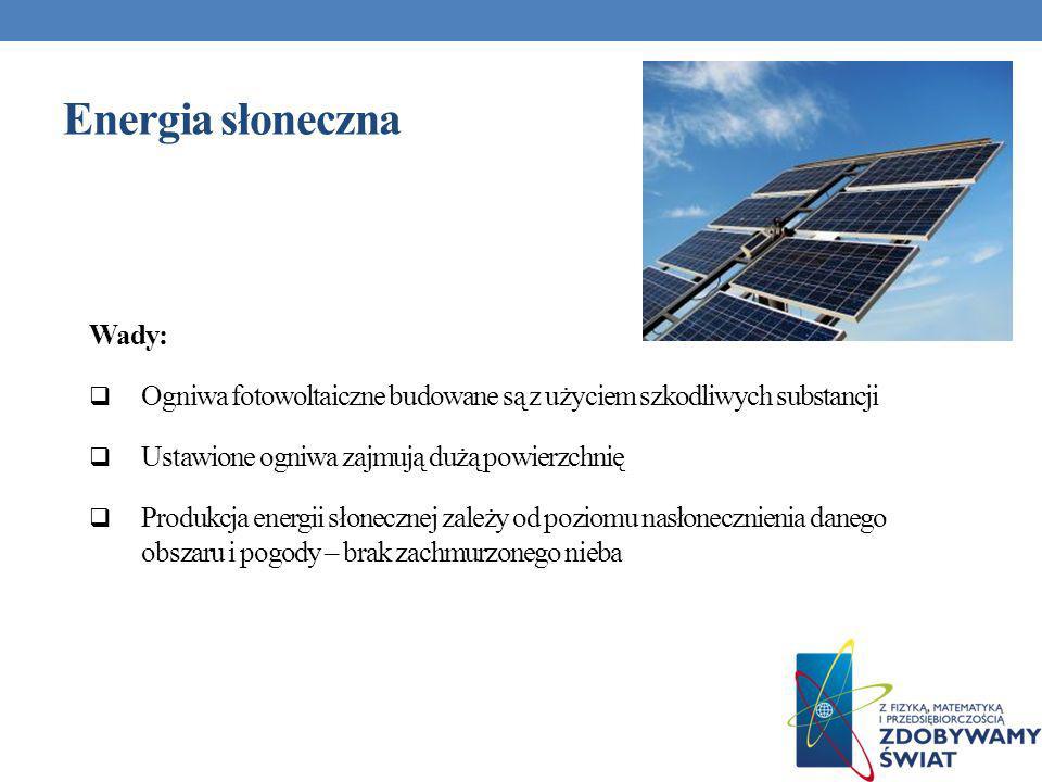 Wady: Ogniwa fotowoltaiczne budowane są z użyciem szkodliwych substancji Ustawione ogniwa zajmują dużą powierzchnię Produkcja energii słonecznej zależ
