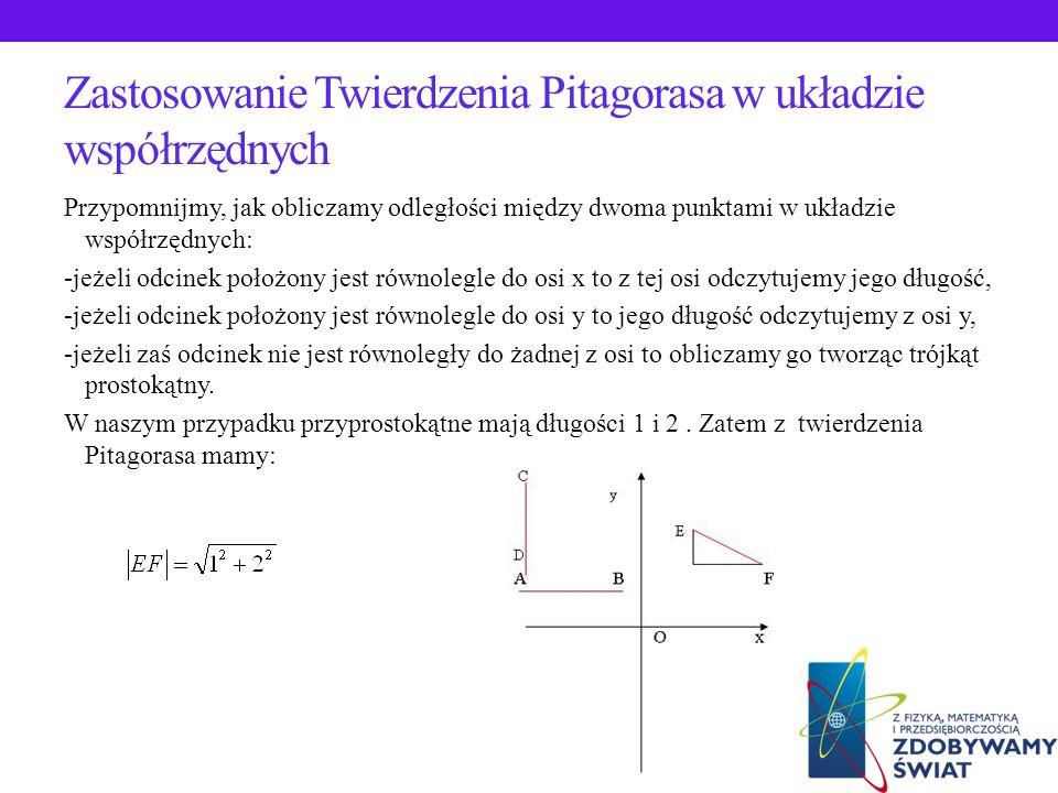Zastosowanie Twierdzenia Pitagorasa w konstrukcji odcinka o długości niewymiernej Odcinek o długości niewymiernej np. lub konstruujemy w następujący s