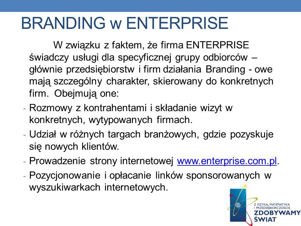 BRANDING w ENTERPRISE W związku z faktem, że firma ENTERPRISE świadczy usługi dla specyficznej grupy odbiorców – głównie przedsiębiorstw i firm działa