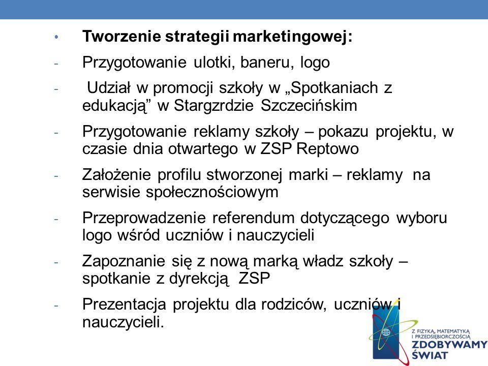 Tworzenie strategii marketingowej: - Przygotowanie ulotki, baneru, logo - Udział w promocji szkoły w Spotkaniach z edukacją w Stargzrdzie Szczecińskim
