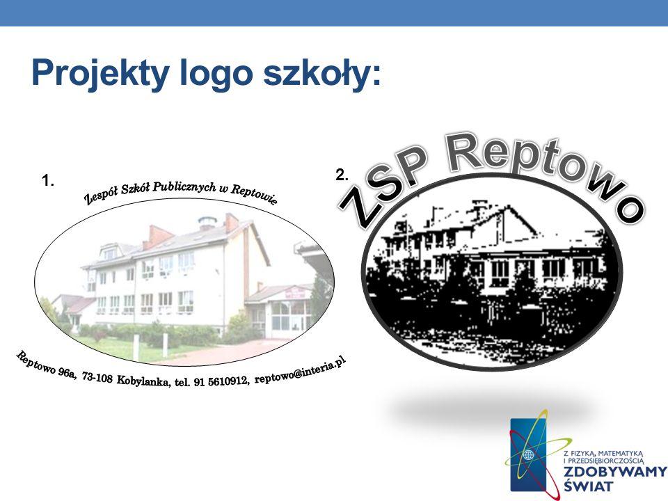Projekty logo szkoły: 1. 2.