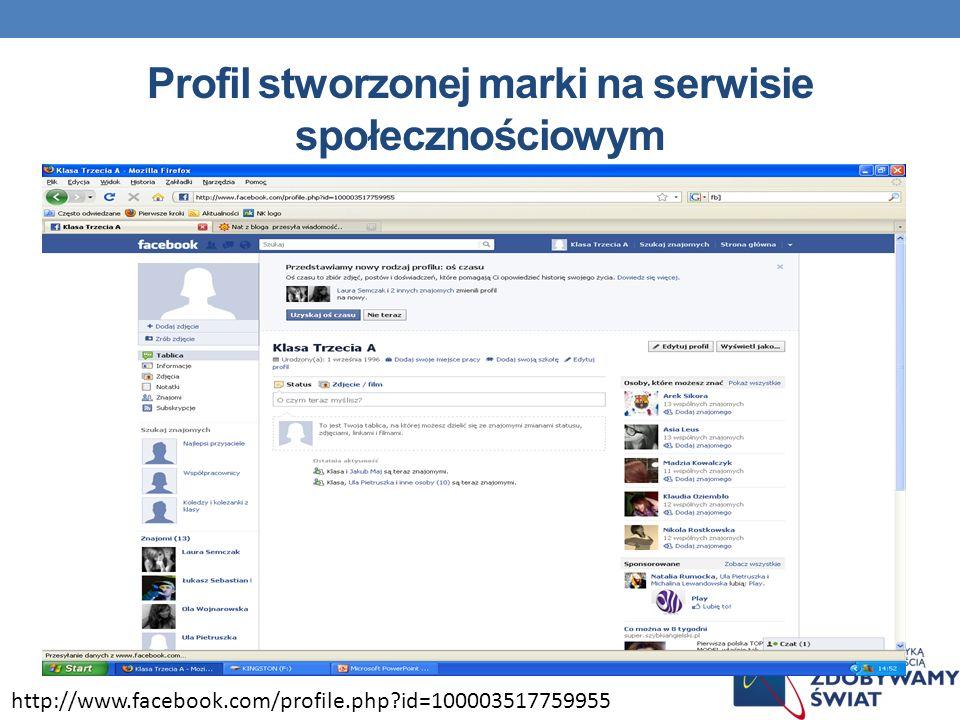 Profil stworzonej marki na serwisie społecznościowym http://www.facebook.com/profile.php?id=100003517759955