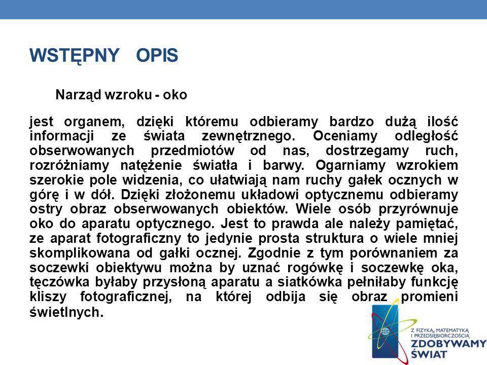 WSTĘPNY OPIS Narząd wzroku - oko jest organem, dzięki któremu odbieramy bardzo dużą ilość informacji ze świata zewnętrznego. Oceniamy odległość obserw