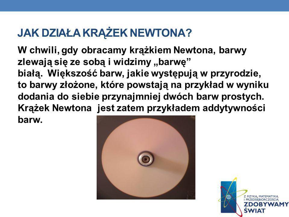 JAK DZIAŁA KRĄŻEK NEWTONA? W chwili, gdy obracamy krążkiem Newtona, barwy zlewają się ze sobą i widzimy barwę białą. Większość barw, jakie występują w