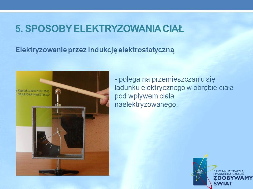 Elektryzowanie przez indukcję elektrostatyczną - polega na przemieszczaniu się ładunku elektrycznego w obrębie ciała pod wpływem ciała naelektryzowanego.