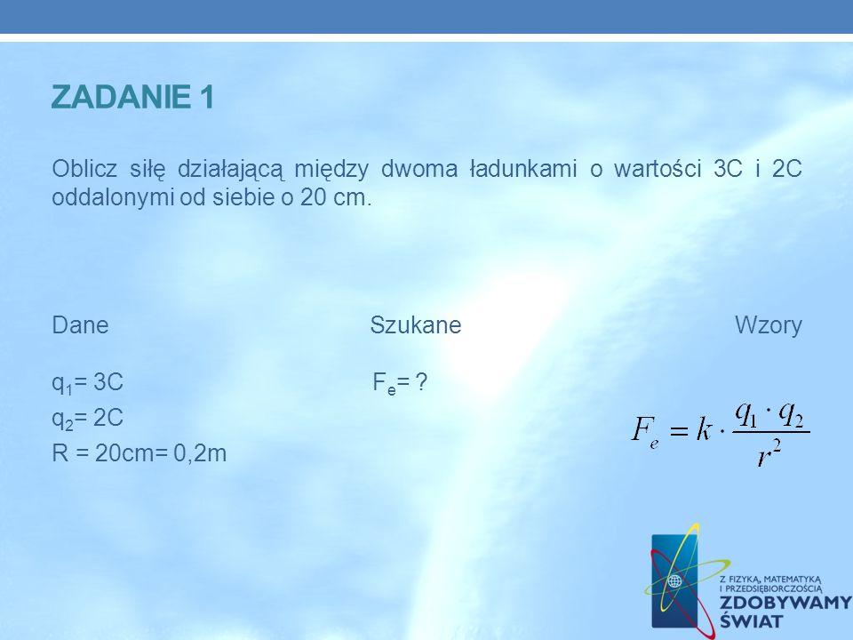ZADANIE 1 Oblicz siłę działającą między dwoma ładunkami o wartości 3C i 2C oddalonymi od siebie o 20 cm.