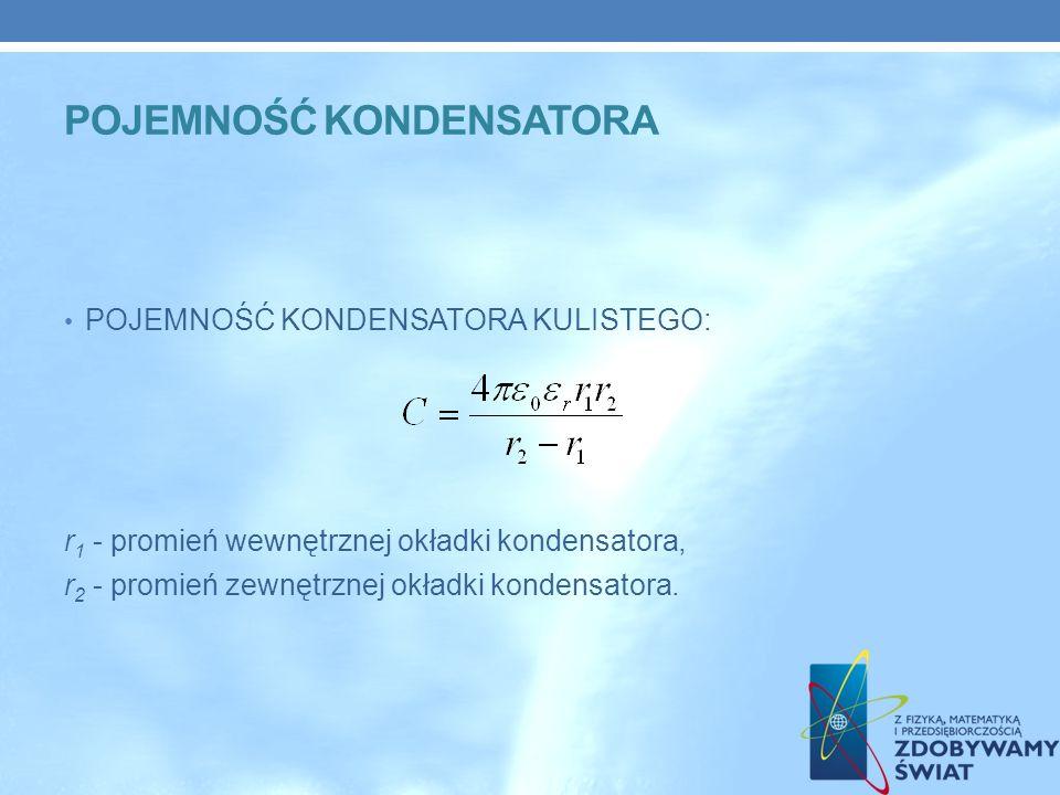 POJEMNOŚĆ KONDENSATORA KULISTEGO: r 1 - promień wewnętrznej okładki kondensatora, r 2 - promień zewnętrznej okładki kondensatora.
