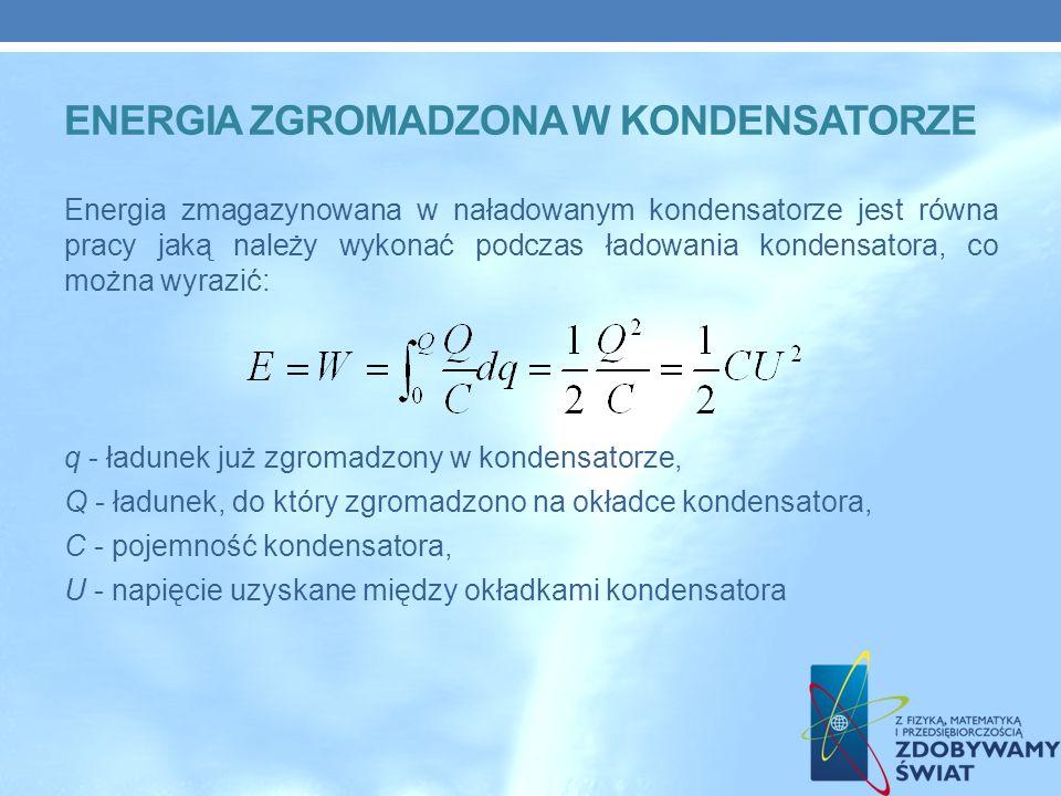 ENERGIA ZGROMADZONA W KONDENSATORZE Energia zmagazynowana w naładowanym kondensatorze jest równa pracy jaką należy wykonać podczas ładowania kondensatora, co można wyrazić: q - ładunek już zgromadzony w kondensatorze, Q - ładunek, do który zgromadzono na okładce kondensatora, C - pojemność kondensatora, U - napięcie uzyskane między okładkami kondensatora