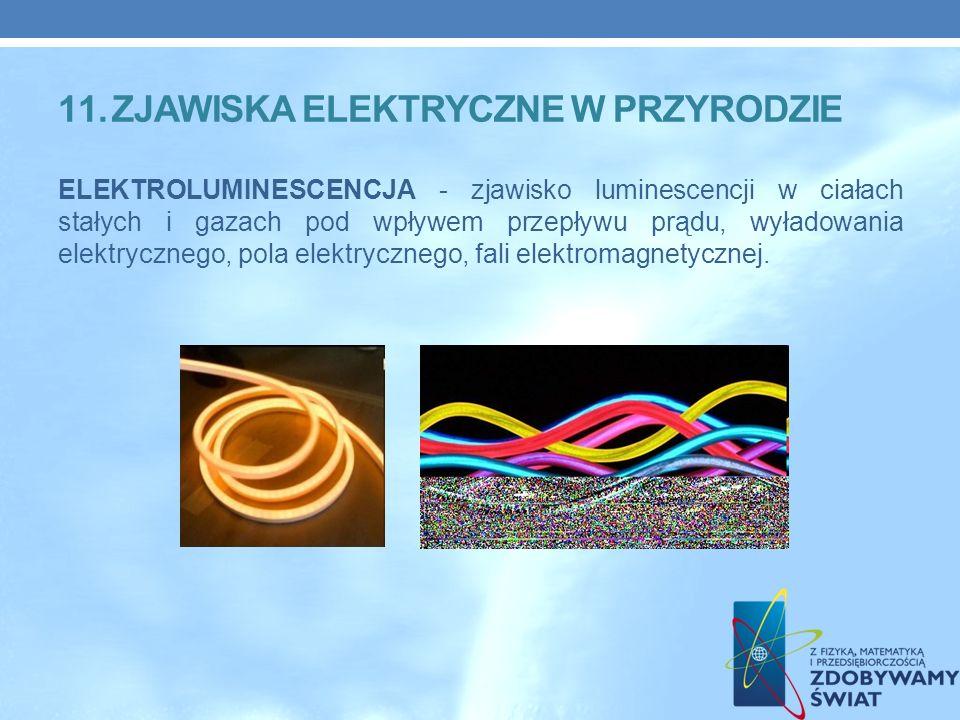 ELEKTROLUMINESCENCJA - zjawisko luminescencji w ciałach stałych i gazach pod wpływem przepływu prądu, wyładowania elektrycznego, pola elektrycznego, fali elektromagnetycznej.