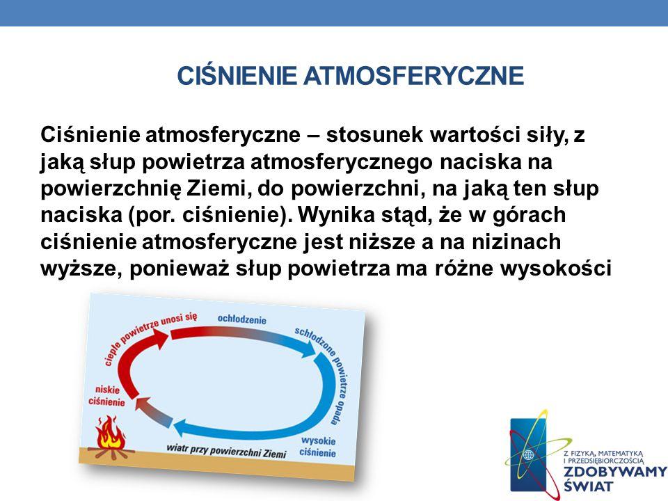 CIŚNIENIE ATMOSFERYCZNE Ciśnienie atmosferyczne – stosunek wartości siły, z jaką słup powietrza atmosferycznego naciska na powierzchnię Ziemi, do powierzchni, na jaką ten słup naciska (por.