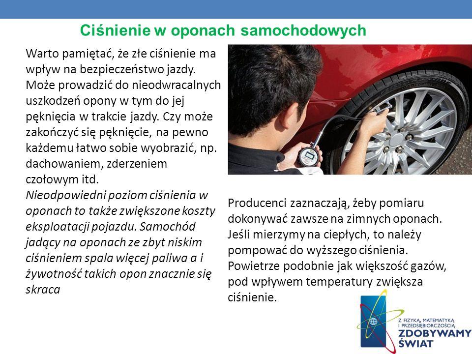 Ciśnienie w oponach samochodowych Warto pamiętać, że złe ciśnienie ma wpływ na bezpieczeństwo jazdy. Może prowadzić do nieodwracalnych uszkodzeń opony