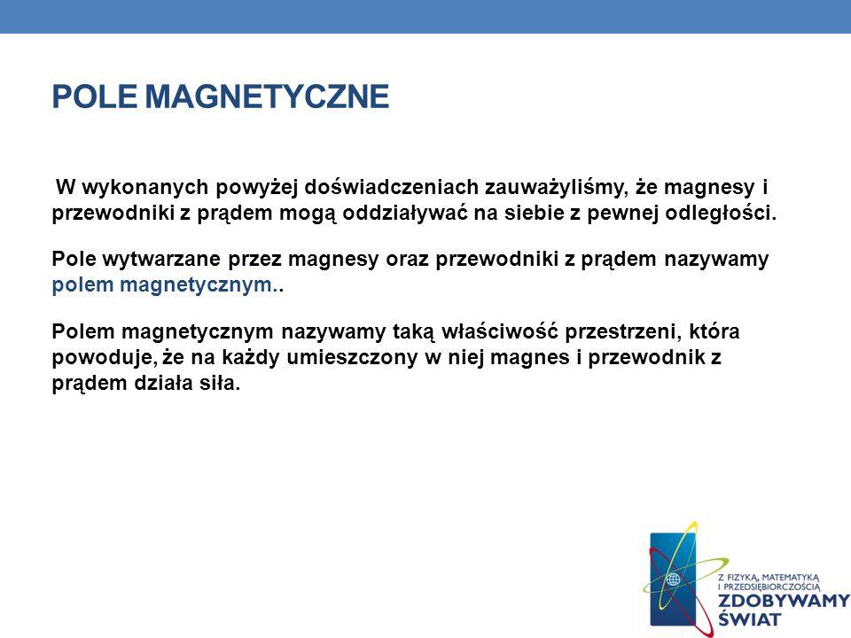 POLE MAGNETYCZNE W wykonanych powyżej doświadczeniach zauważyliśmy, że magnesy i przewodniki z prądem mogą oddziaływać na siebie z pewnej odległości.