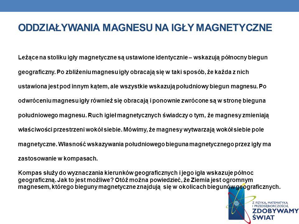 ODDZIAŁYWANIA MAGNESU NA IGŁY MAGNETYCZNE Leżące na stoliku igły magnetyczne są ustawione identycznie – wskazują północny biegun geograficzny. Po zbli