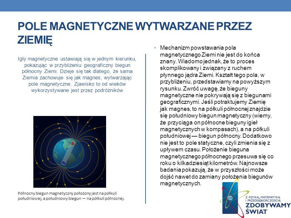 POLE MAGNETYCZNE WYTWARZANE PRZEZ ZIEMIĘ Igły magnetyczne ustawiają się w jednym kierunku, pokazując w przybliżeniu geograficzny biegun północny Ziemi