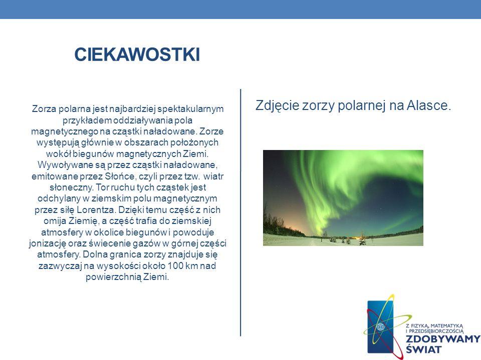CIEKAWOSTKI Zorza polarna jest najbardziej spektakularnym przykładem oddziaływania pola magnetycznego na cząstki naładowane. Zorze występują głównie w
