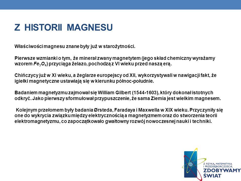 Z HISTORII MAGNESU Właściwości magnesu znane były już w starożytności. Pierwsze wzmianki o tym, że minerał zwany magnetytem (jego skład chemiczny wyra
