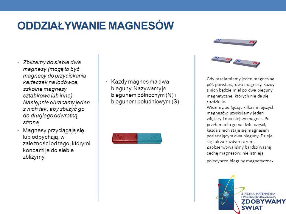 Zbliżamy do siebie dwa magnesy (mogą to być magnesy do przyciskania karteczek na lodówce, szkolne magnesy sztabkowe lub inne). Następnie obracamy jede