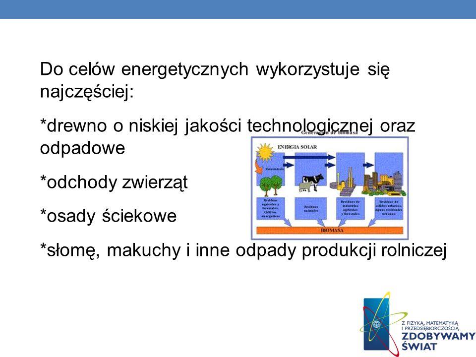 Do celów energetycznych wykorzystuje się najczęściej: *drewno o niskiej jakości technologicznej oraz odpadowe *odchody zwierząt *osady ściekowe *słomę