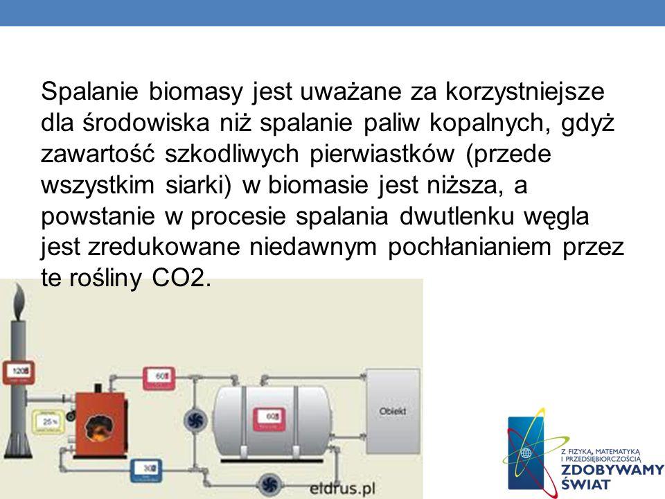 Spalanie biomasy jest uważane za korzystniejsze dla środowiska niż spalanie paliw kopalnych, gdyż zawartość szkodliwych pierwiastków (przede wszystkim