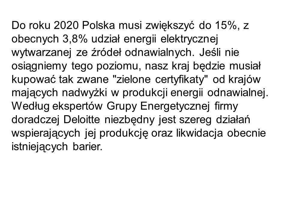 Do roku 2020 Polska musi zwiększyć do 15%, z obecnych 3,8% udział energii elektrycznej wytwarzanej ze źródeł odnawialnych. Jeśli nie osiągniemy tego p