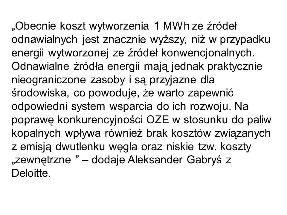 Obecnie koszt wytworzenia 1 MWh ze źródeł odnawialnych jest znacznie wyższy, niż w przypadku energii wytworzonej ze źródeł konwencjonalnych. Odnawialn