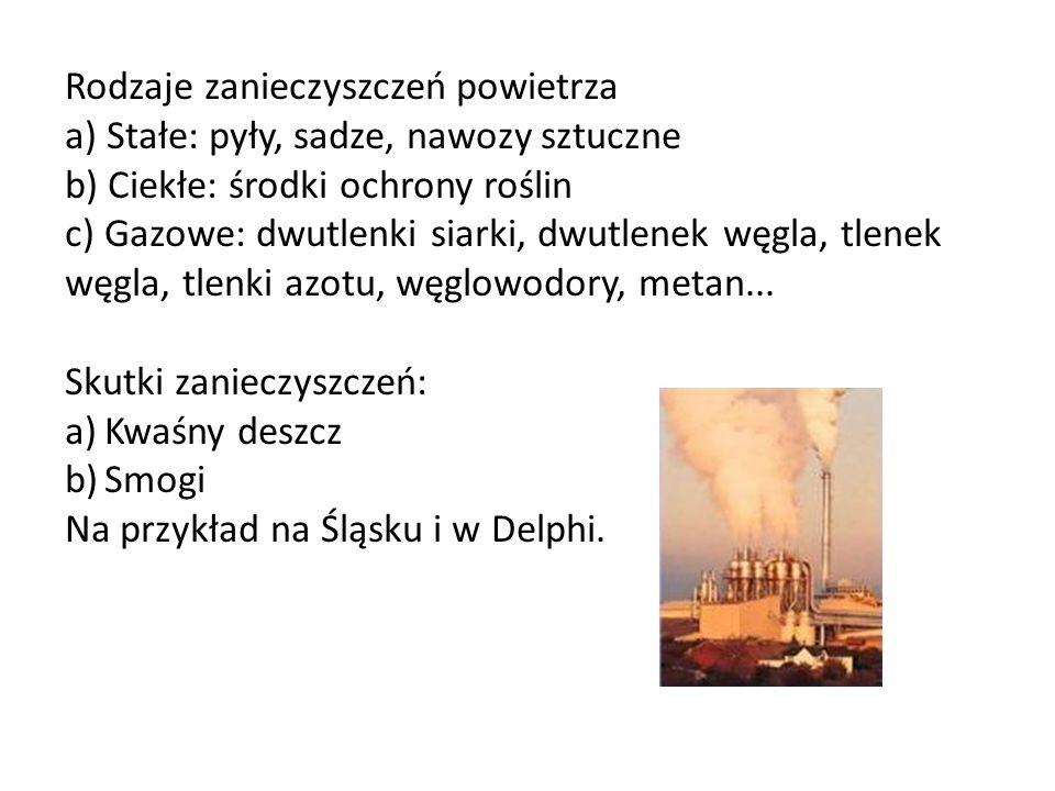 Rodzaje zanieczyszczeń powietrza a) Stałe: pyły, sadze, nawozy sztuczne b) Ciekłe: środki ochrony roślin c) Gazowe: dwutlenki siarki, dwutlenek węgla,