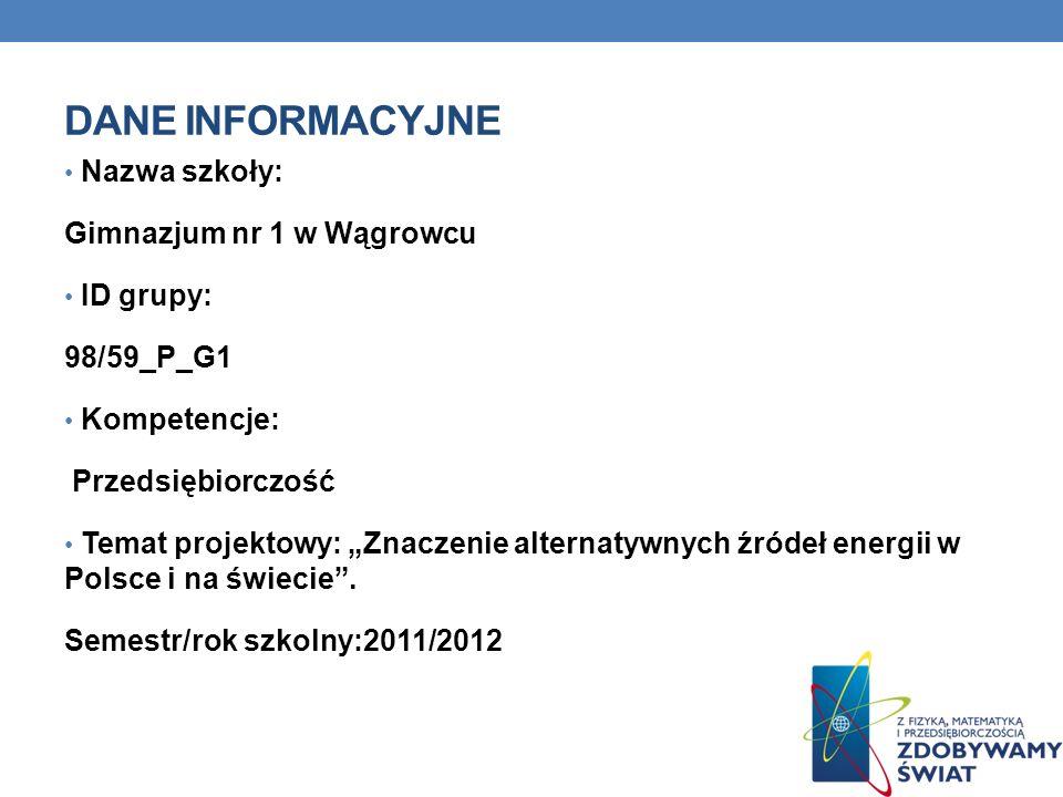 DANE INFORMACYJNE Nazwa szkoły: Gimnazjum nr 1 w Wągrowcu ID grupy: 98/59_P_G1 Kompetencje: Przedsiębiorczość Temat projektowy: Znaczenie alternatywny