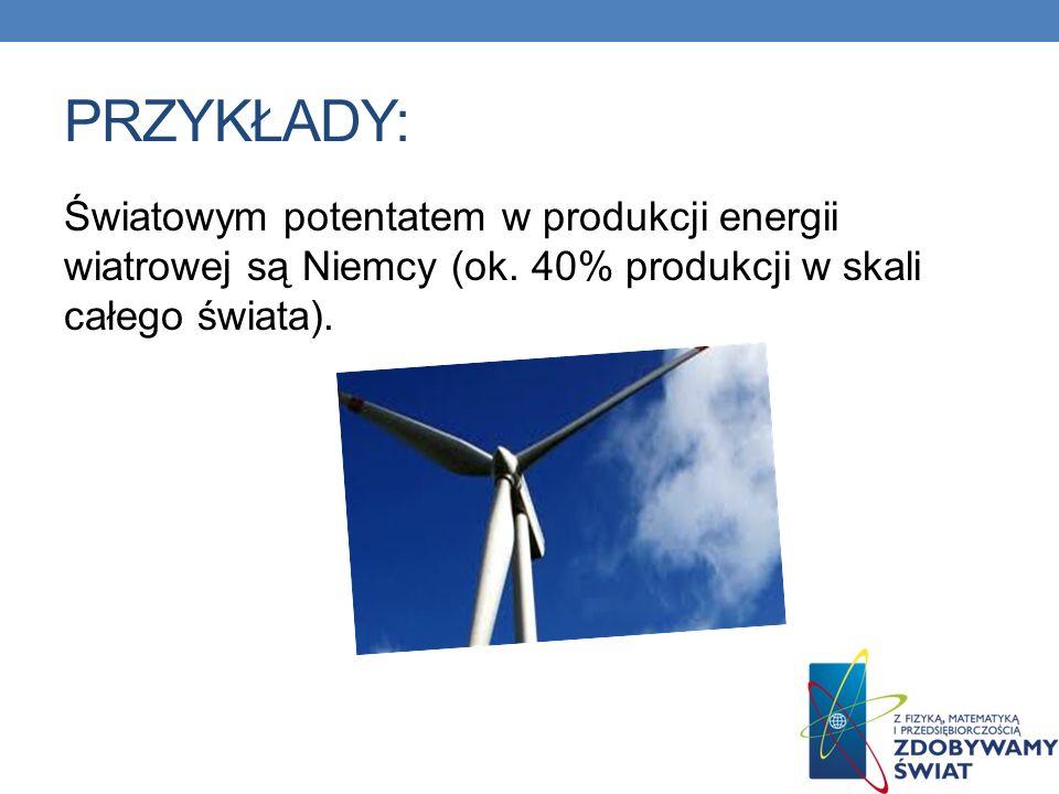 PRZYKŁADY: Światowym potentatem w produkcji energii wiatrowej są Niemcy (ok. 40% produkcji w skali całego świata).