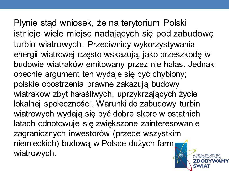 Płynie stąd wniosek, że na terytorium Polski istnieje wiele miejsc nadających się pod zabudowę turbin wiatrowych. Przeciwnicy wykorzystywania energii