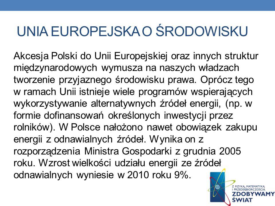 UNIA EUROPEJSKA O ŚRODOWISKU Akcesja Polski do Unii Europejskiej oraz innych struktur międzynarodowych wymusza na naszych władzach tworzenie przyjazne