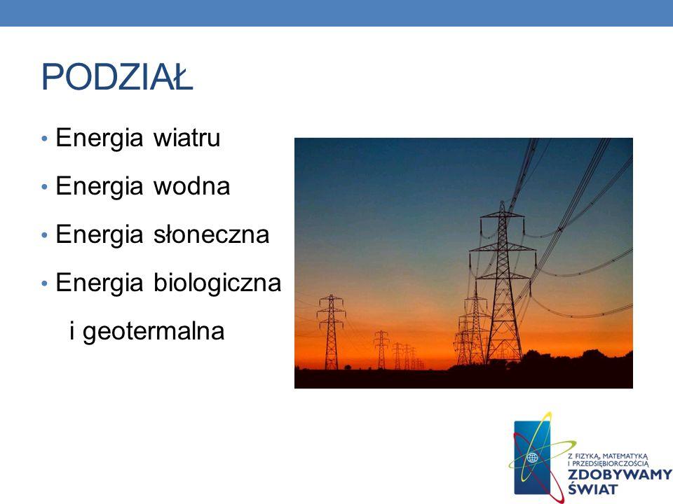 PODZIAŁ Energia wiatru Energia wodna Energia słoneczna Energia biologiczna i geotermalna