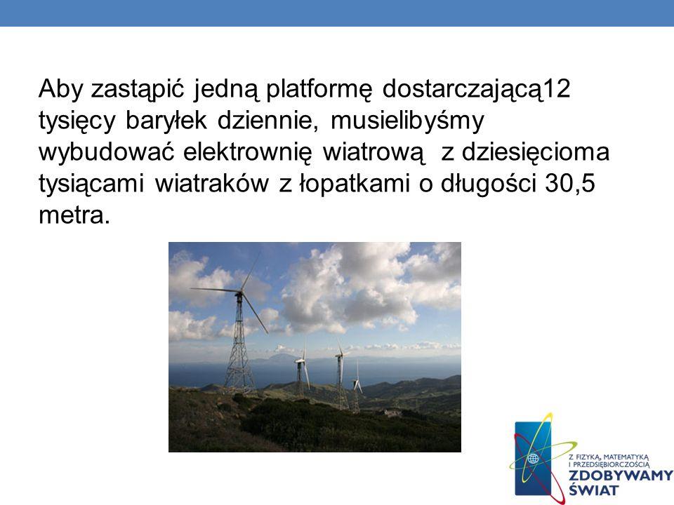 Aby zastąpić jedną platformę dostarczającą12 tysięcy baryłek dziennie, musielibyśmy wybudować elektrownię wiatrową z dziesięcioma tysiącami wiatraków