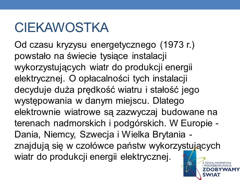 CIEKAWOSTKA Od czasu kryzysu energetycznego (1973 r.) powstało na świecie tysiące instalacji wykorzystujących wiatr do produkcji energii elektrycznej.