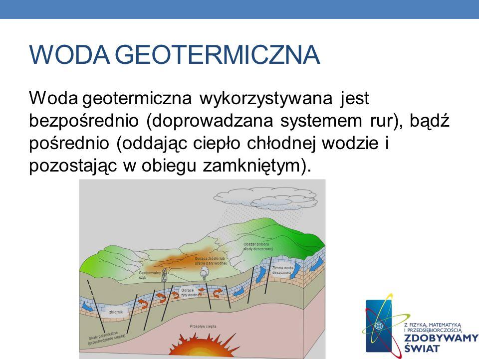 WODA GEOTERMICZNA Woda geotermiczna wykorzystywana jest bezpośrednio (doprowadzana systemem rur), bądź pośrednio (oddając ciepło chłodnej wodzie i poz