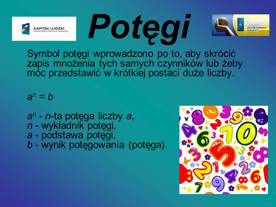 Potęgi Symbol potęgi wprowadzono po to, aby skrócić zapis mnożenia tych samych czynników lub żeby móc przedstawić w krótkiej postaci duże liczby. a n