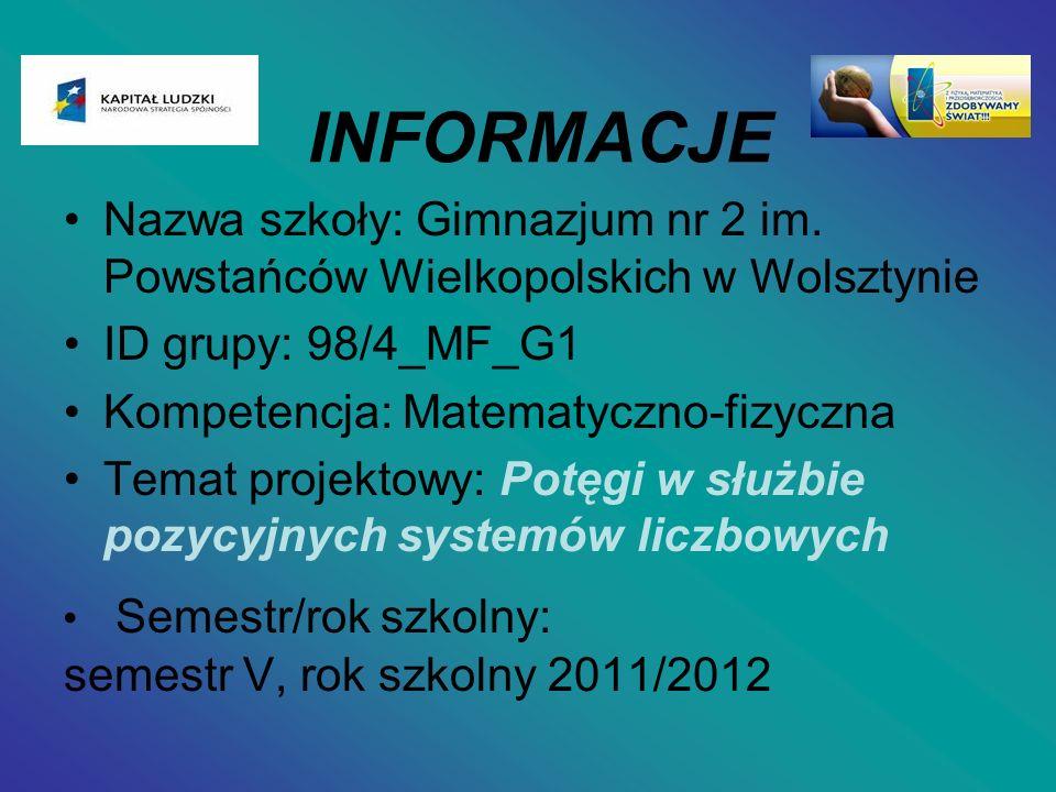 Nazwa szkoły: Gimnazjum nr 2 im. Powstańców Wielkopolskich w Wolsztynie ID grupy: 98/4_MF_G1 Kompetencja: Matematyczno-fizyczna Temat projektowy: Potę